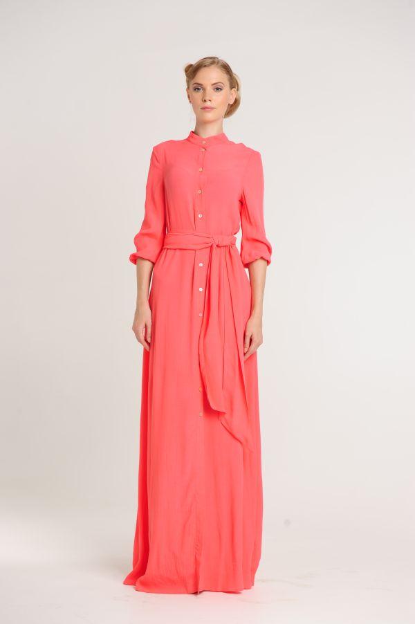 f15f6d9e83d70c4 Коралловое платье в пол на пуговицах
